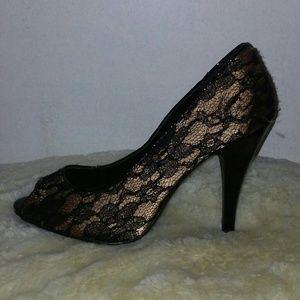 Shoes - Lace peeptoe stiletto heels